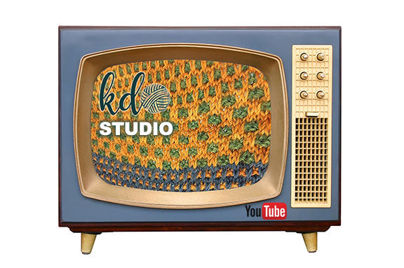 photograph of a vintage television from the 1950s with knitting on the screen and the words KDO Studio and YouTube