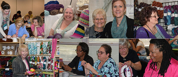 collage of several photos showing numerous people in classroom settings being taught various knitting techniques.