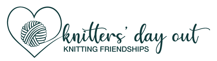 Knitters' Day Out logo of a yarn ball surrounded by a drawn heart and including the words Knitters' Day Out and Knitting Friendships