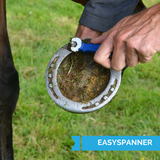 KEP's Blue EasySpanner Tool for Studding up Horses, angled at 45º to eliminate knuckle grazing