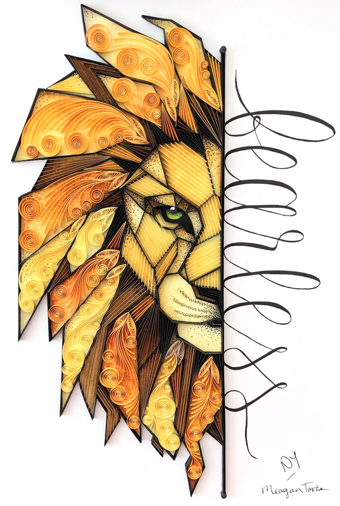Commissioned 1st Anniversary Paper Quilling Lion Artwork Gift