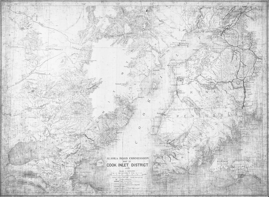 Print Of Map Of Cook Inlet District By Alaska Road Commission Poster