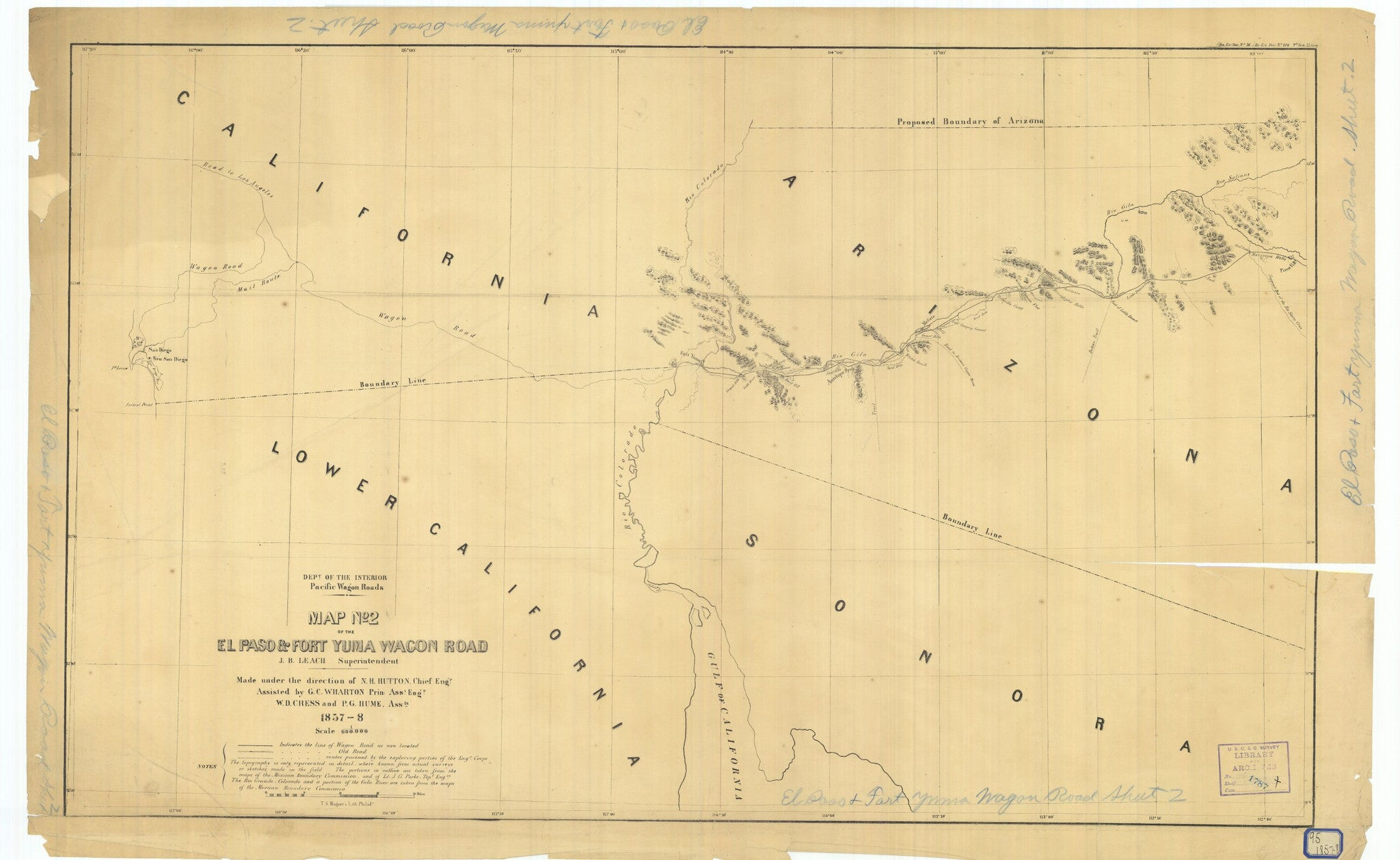Map Number 2 Of The El Paso And Fort Yuma Wagon Road Print on map of nolan county, map of young county, map of ft bliss, map of culiacan, map of cancún, map of wilkes-barre, map of houston, map of colonial heights, map of tampa st petersburg, map of santa teresa, map of rio rico, map of corbin, map of liberal, map of austin, map of ft stockton, map of indiana in, map of eastern id, map of beebe, map of hamtramck, map arizona,