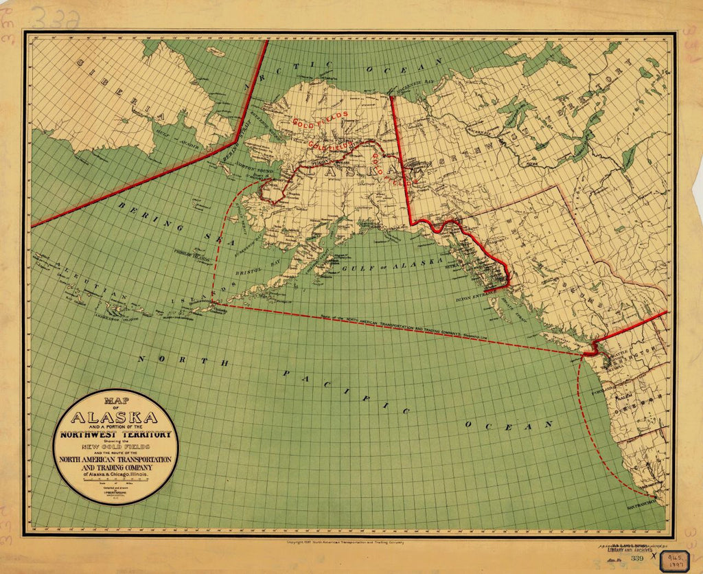 Map Of Alaska And A Portion Of The Territory Showing The New Gold Fields And The Route Of The North American Transportation And Trading Company Of Alaska And Chicago Illinois