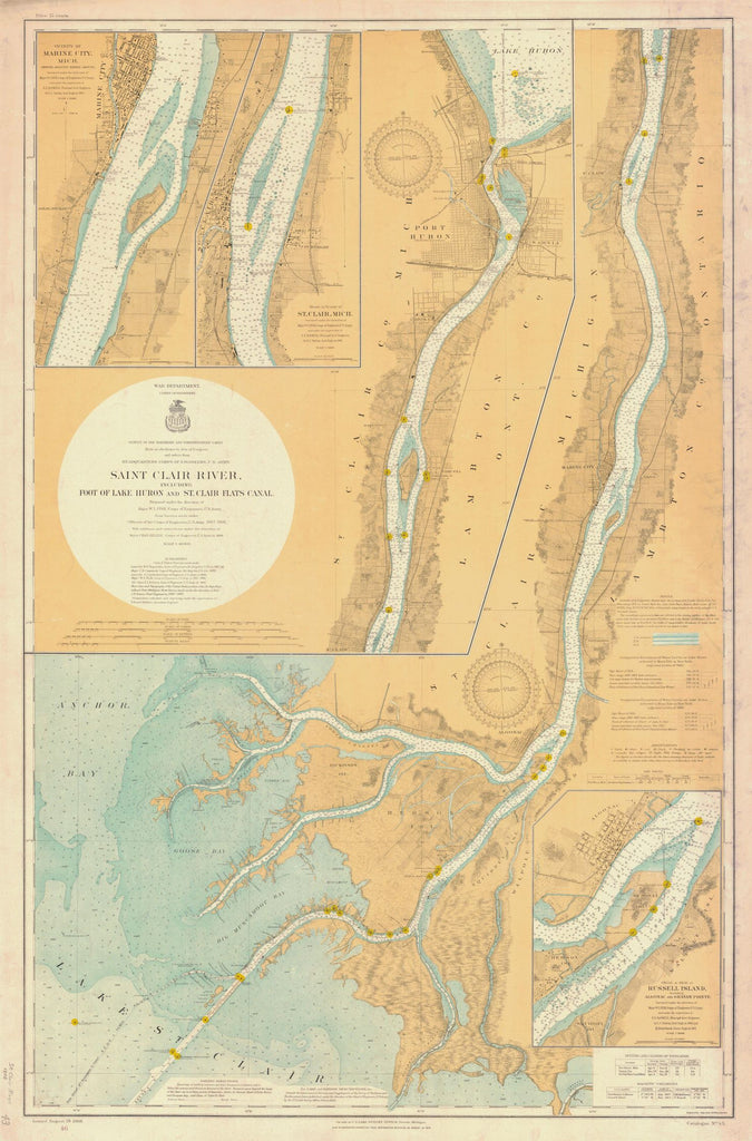 Print of Saint Clair River Including Foot Of Lake Huron And St Clair