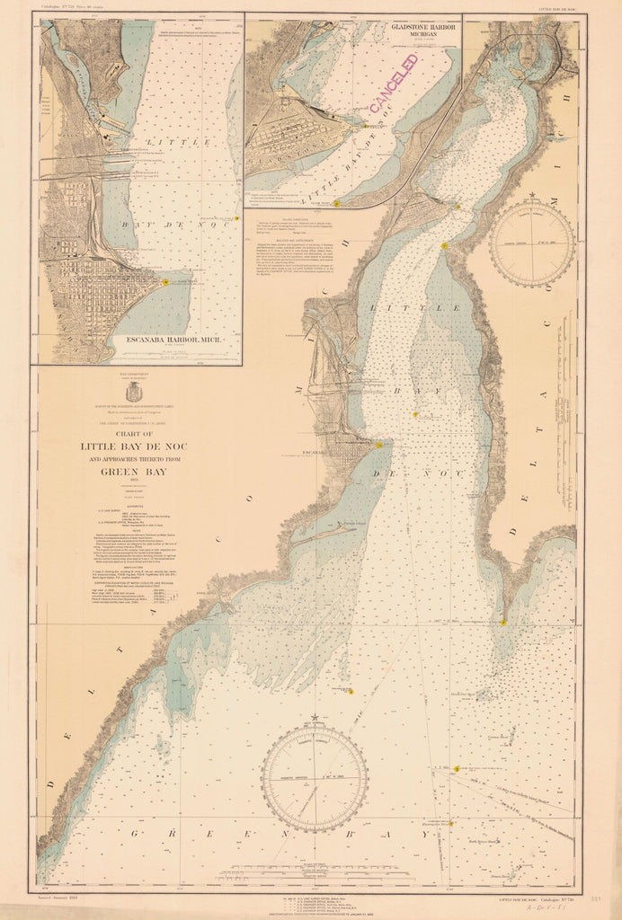 Chart Of Little Bay De Noc And Approaches Thereto From Green Bay