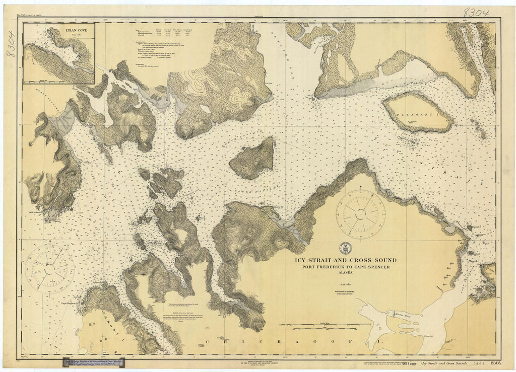 Frederick Sound Alaska Map.Print Of Icy Strait And Cross Sound Ak Poster On Vintage Visualizations
