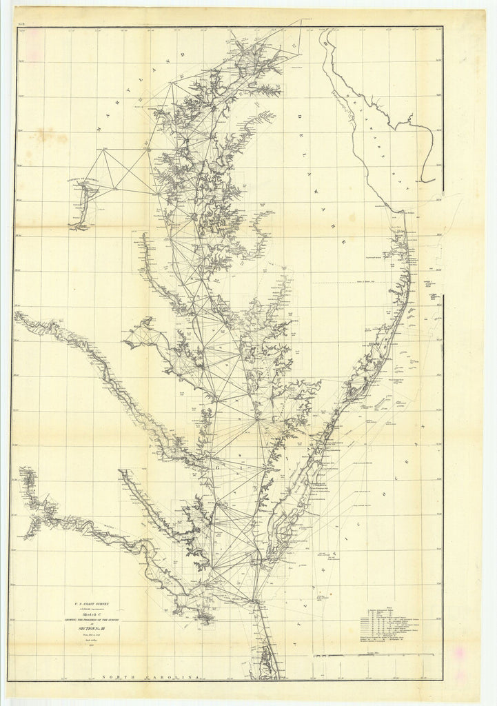 Sketch C Showing The Progress Of The Survey In Section Number 3 From 1843 To 1859