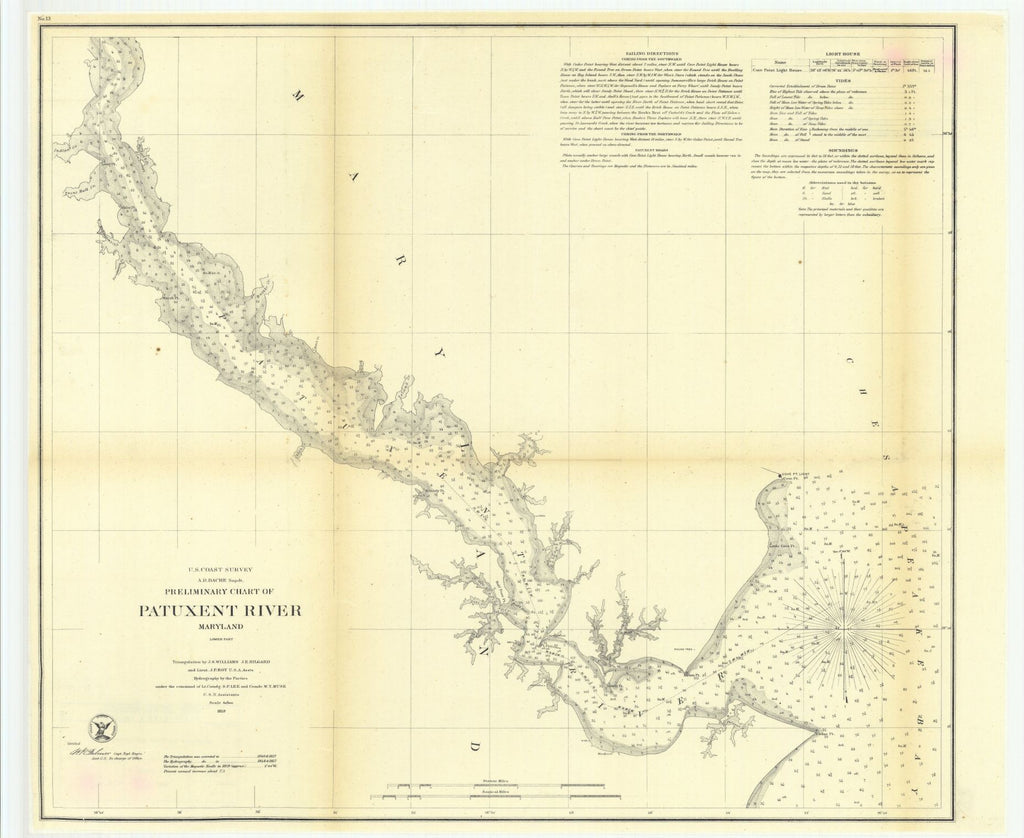 Preliminary Chart Of Patuxent River, Maryland, Lower Part