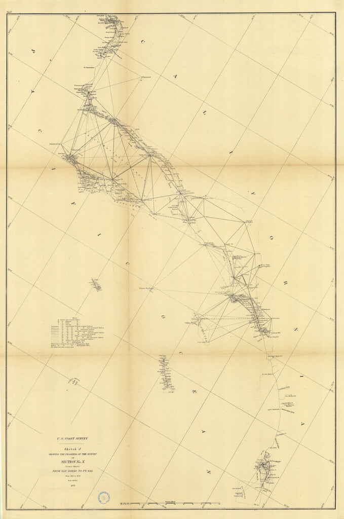 Sketch J Showing The Progress Of The Survey In Section Number 10 From San Diego To Point Sal From 1850 To 1875, Lower Sheet