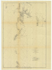 Sketch Showing The Progress Of The Survey In Section #10 Middle Sheet From Point Sal To Tomales Bay From 1850 To 1877 With Sub Sketch, Coquille River, Oregon