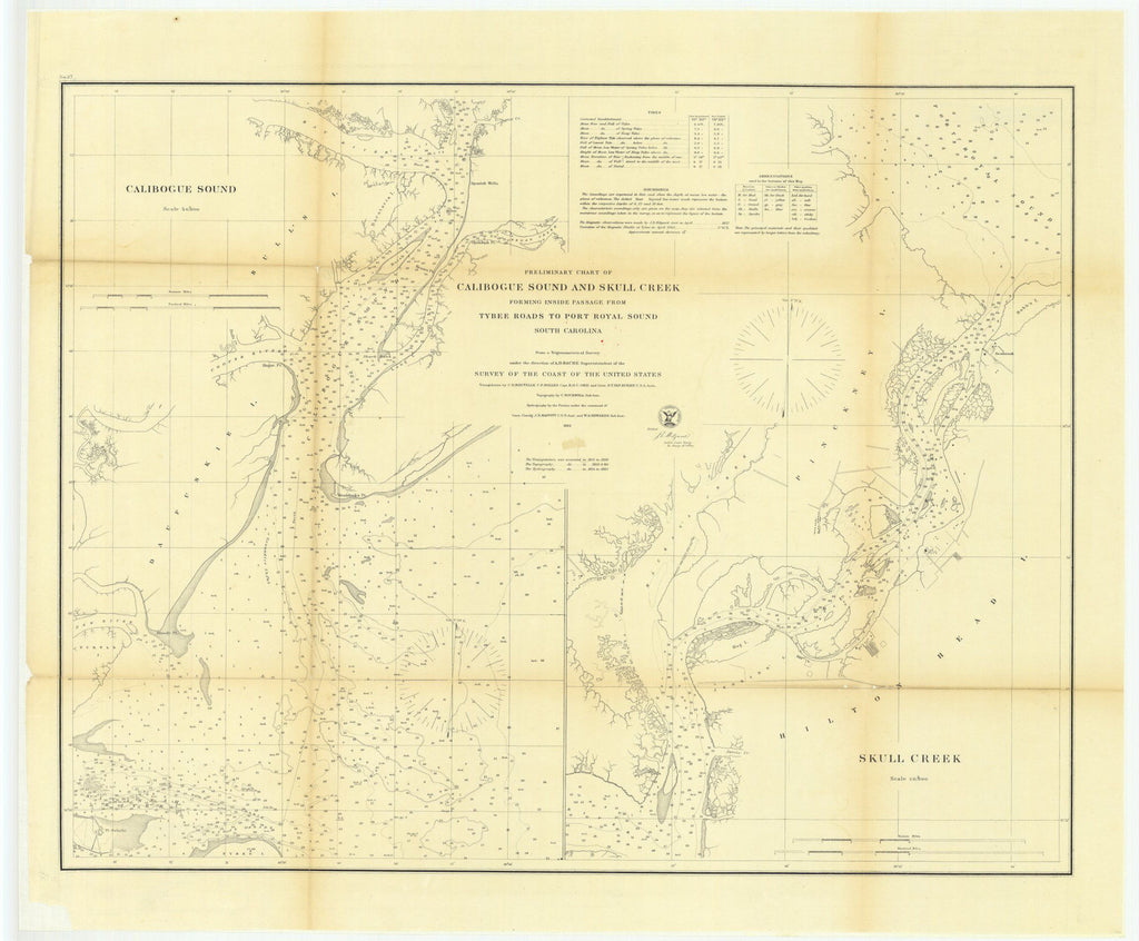 Preliminary Chart Of Calibogue Sound And Skull Creek Forming Inside Passage From Tybee Roads To Port Royal Sound, South Carolina