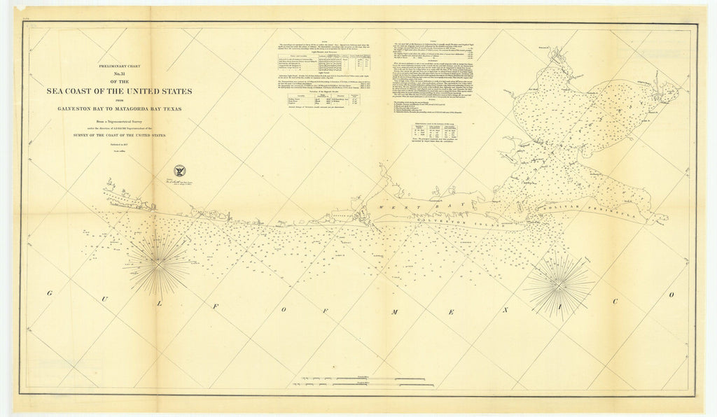 Preliminary Chart Number 31 Of The Sea Coast Of The United States From Galveston Bay To Matagorda Bay, Texas
