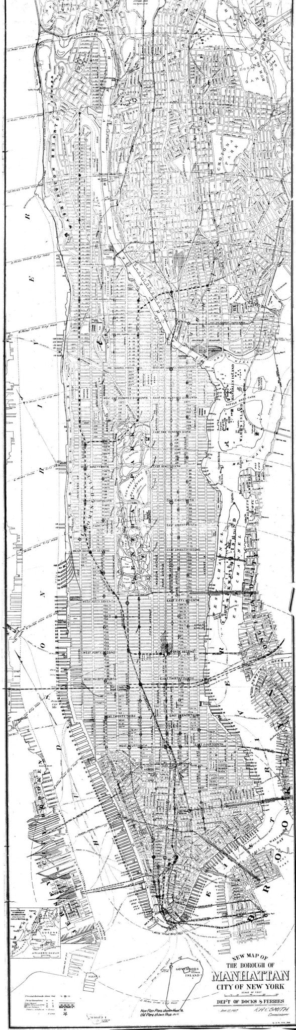 New York Map Black And White.Print Of New Map Of The Borough Of Manhattan City Of New York