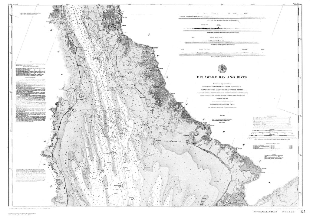 Nautical Chart Of Delaware Bay And Harbor