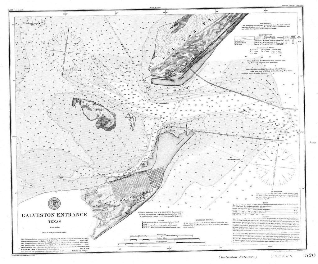 Navigation Chart Of Galveston Entrance