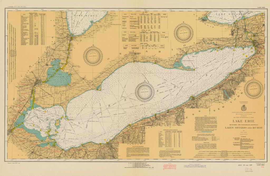 Lake Erie Including The Waterways Between Lakes Ontario And Huron