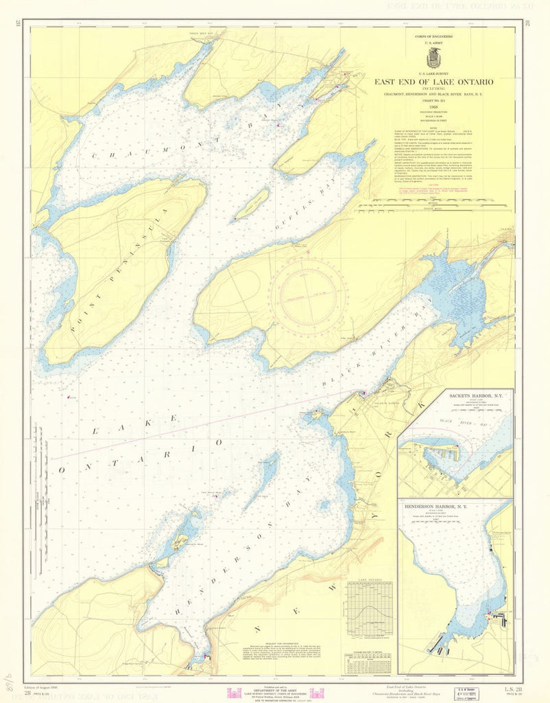 Print of East End Of Lake Ontario Including Chaumont, Henderson And ...