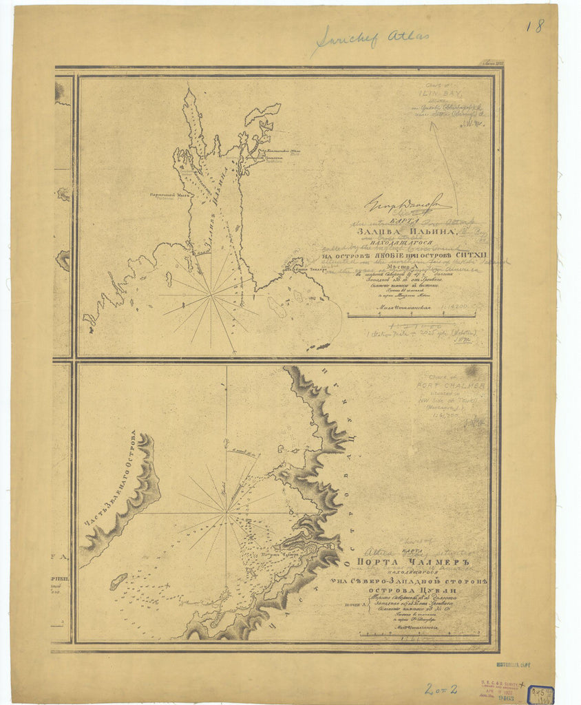 Sarychev Atlas Sheet #18 2 Of 2 : Chart Of Ilin Bay, Chart Of Port Chalmer