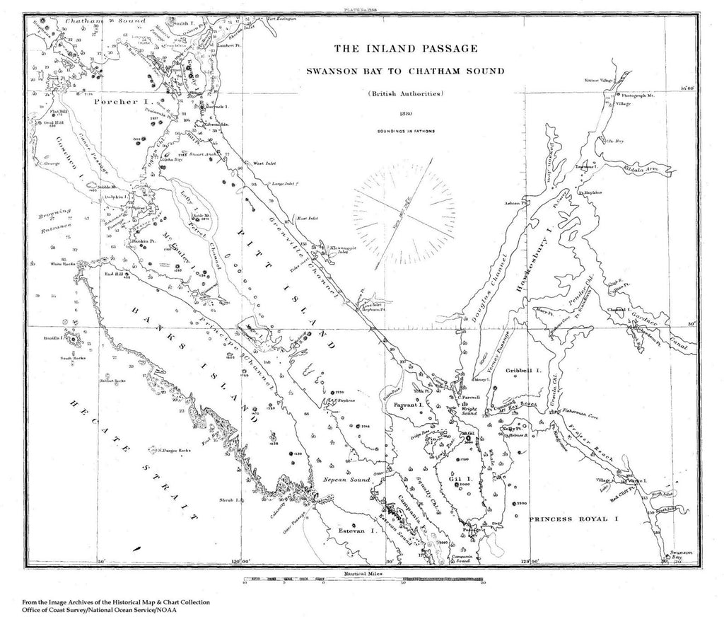 Navigation Chart Of The Inland Passage From Swanson Bay To Chatham Sound
