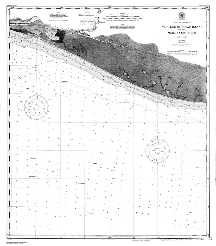 Navigation Chart For The West End Of Pecan Island To The Mermentau River