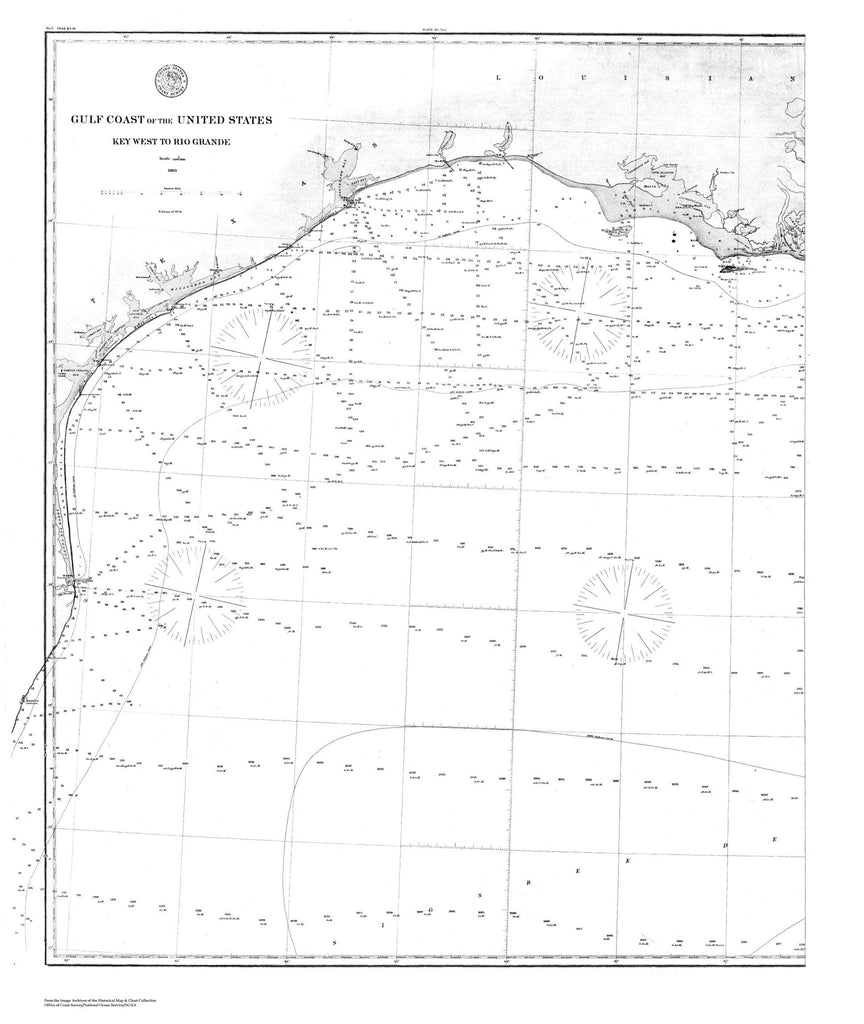 Navigation Chart Of The Gulf Coast Of The Us, Key West To Rio Grande