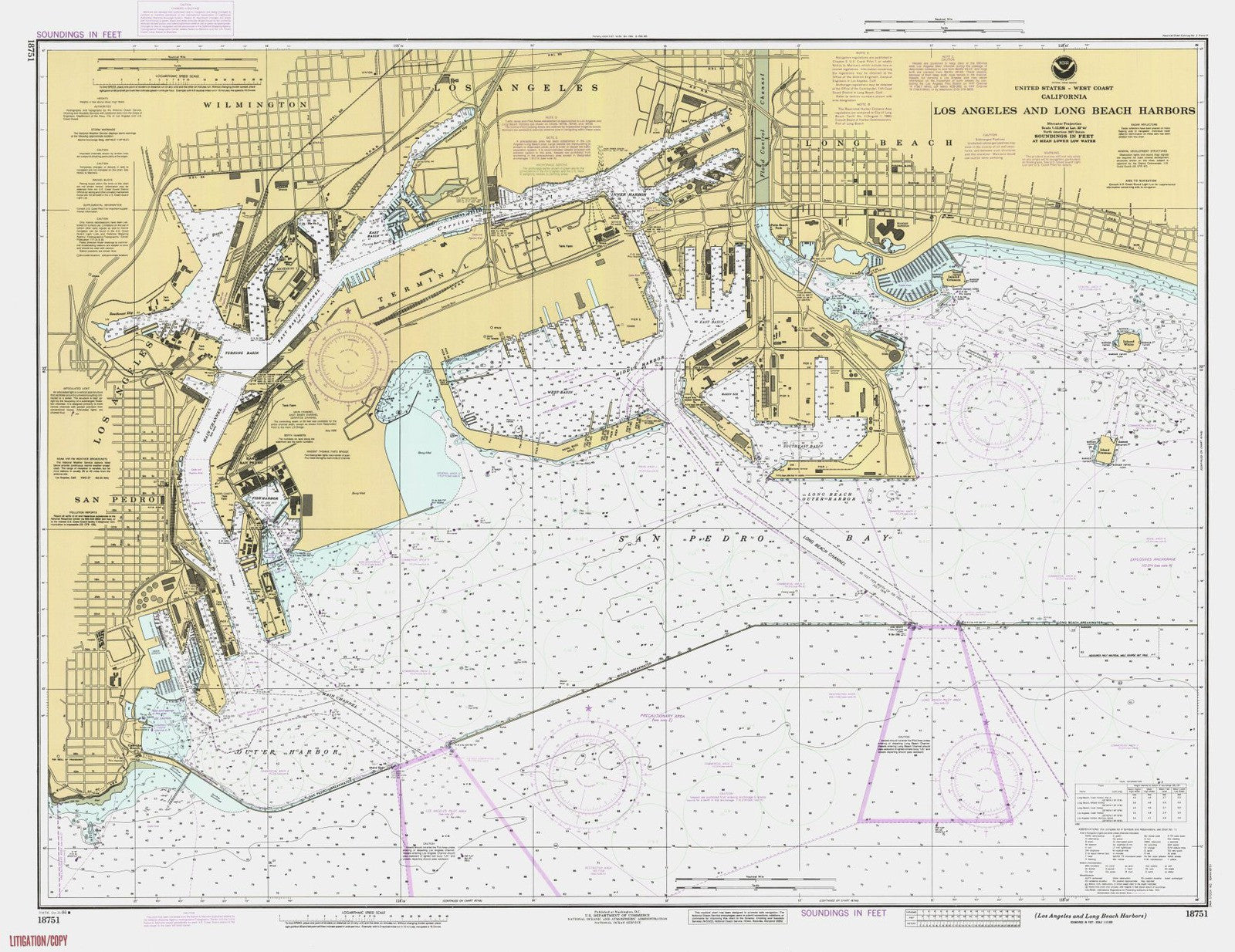 Print Of Los Angeles And Long Beach Harbors Poster On Vintage - Vintage los angeles map poster