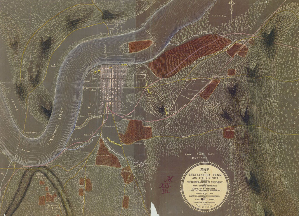 Map Of Chattanooga Tennessee and its Vicinity, Showing The Fortifications of the Enemy