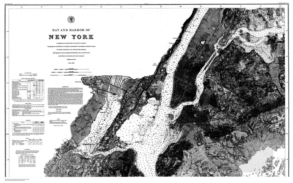 Navigation Chart For The Bay And Harbor Of New York