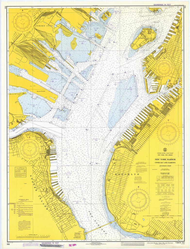 Map Of New York Harbour.Print Of New York Harbor Upper Bay And Narrows Poster On Vintage