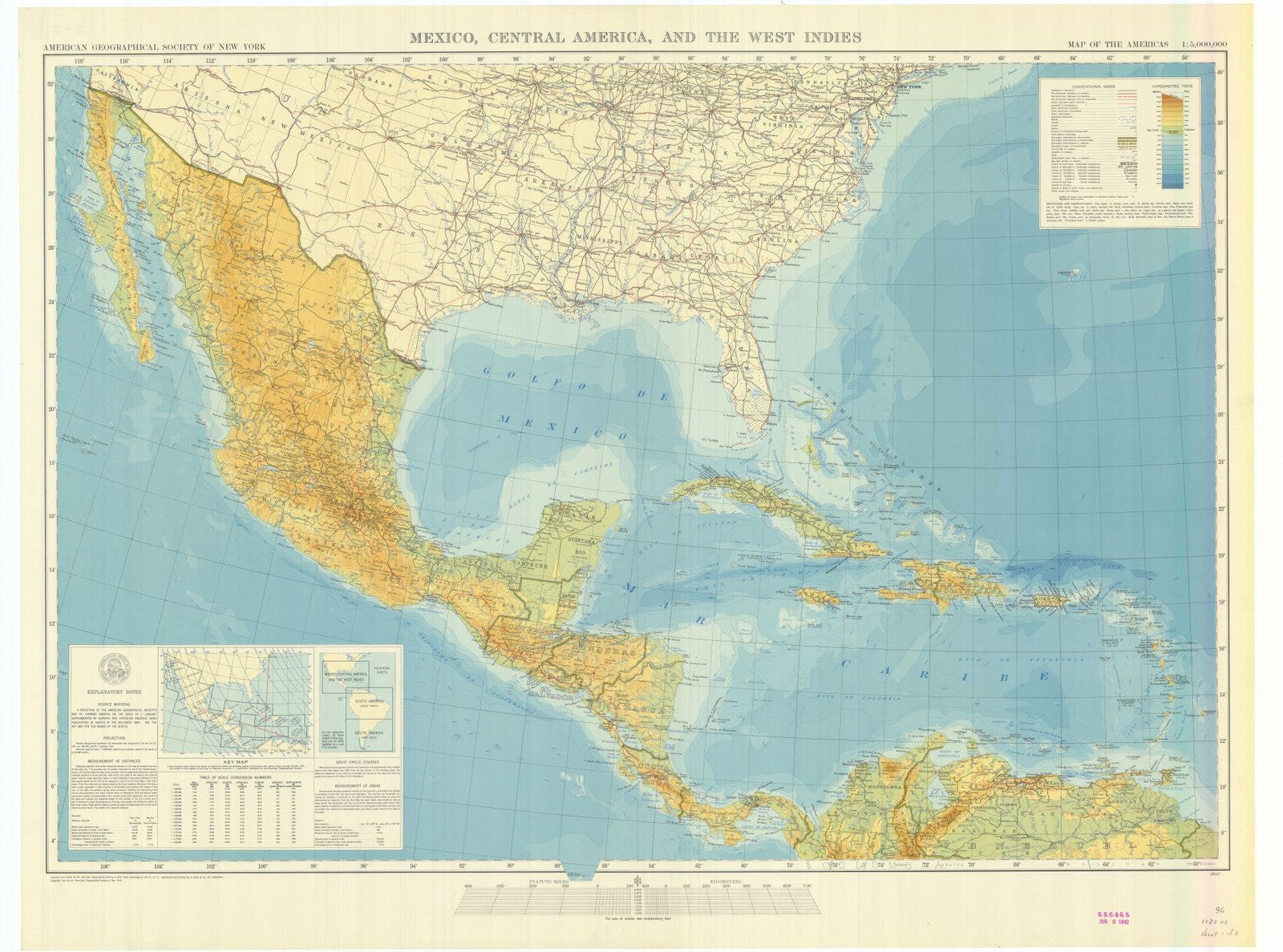 Print Of Map Of The Americas Mexico Central America And The West