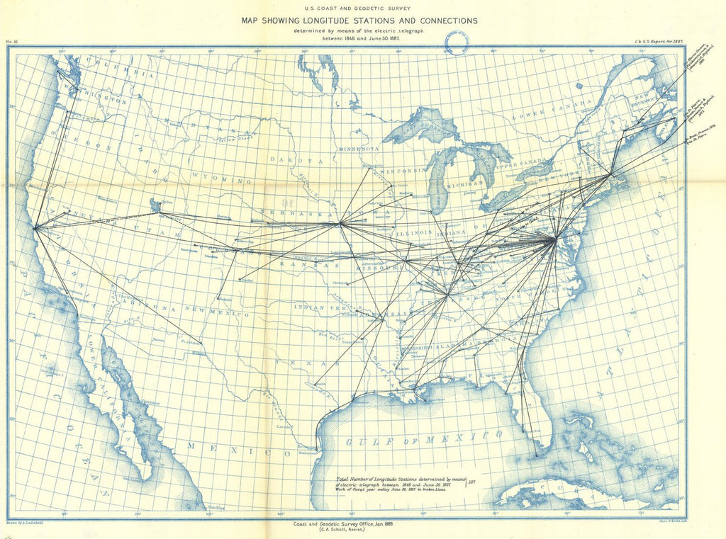 Print Of 16 Map Showing Longitude Stations And Connections - Us-geodetic-maps