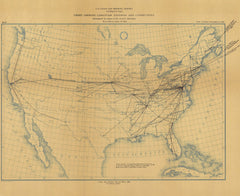Chart Showing Longitude Stations And Connections Determined By Means Of The Electric Telegraph From 1846 To June 30, 1884