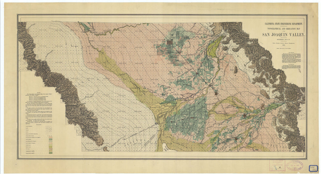 Topographical And Irrigation Map Of The San Joaquin Valley Sheet #3