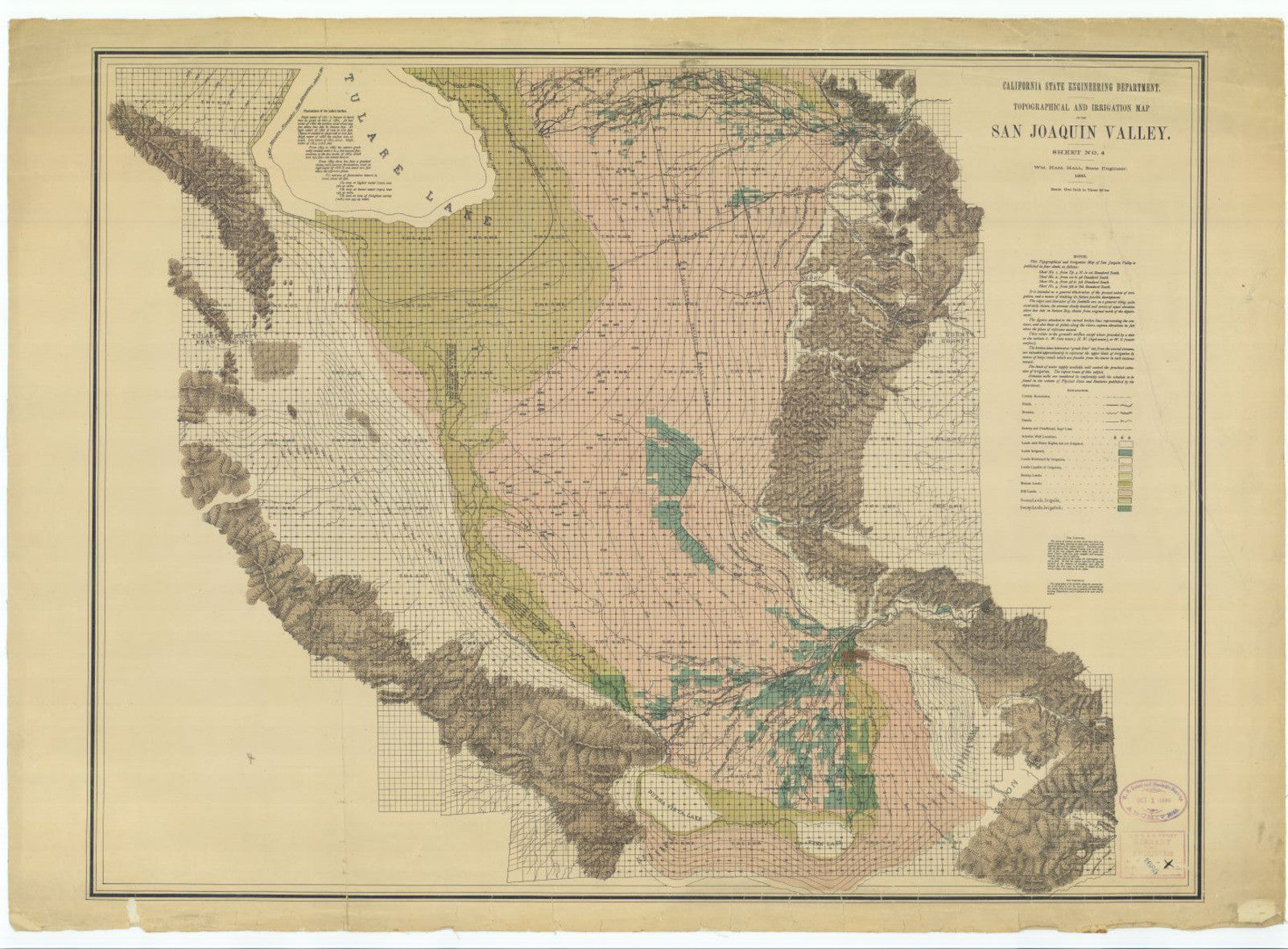 Print Of Topographical And Irrigation Map Of The San Joaquin Valley