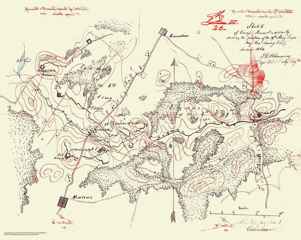 Sketch Of Camp Russel And Vicinity - 1864