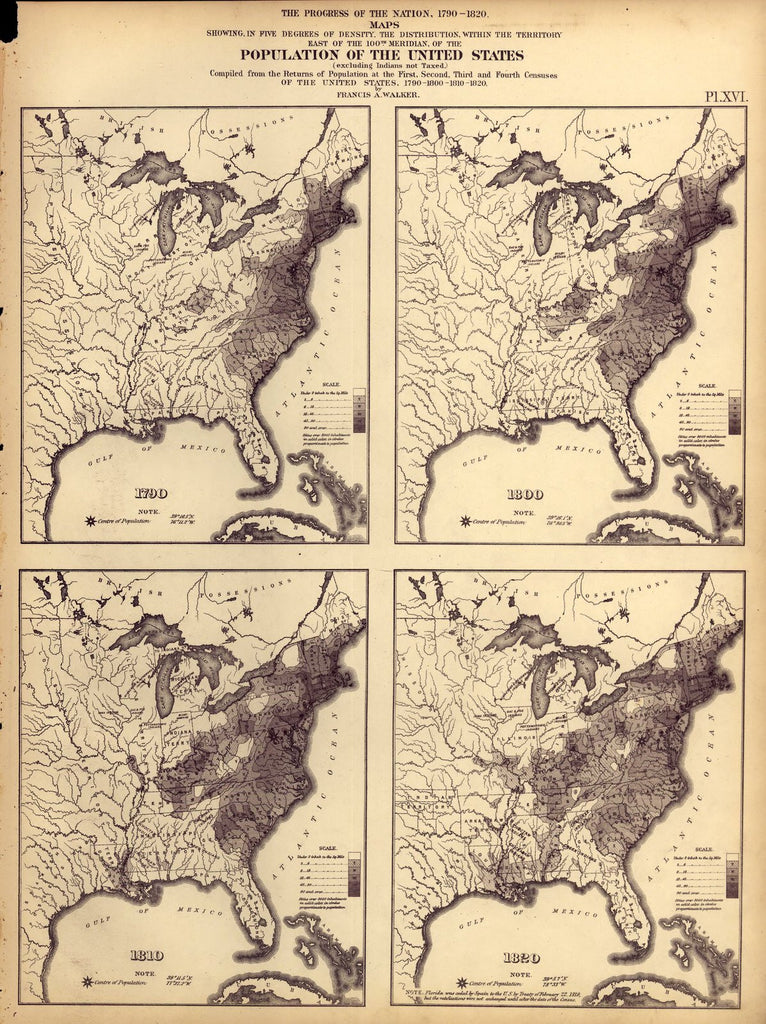 Map Of The Us In 1800.Print Of Population Of The U S 1790 1800 1810 1820 Poster On