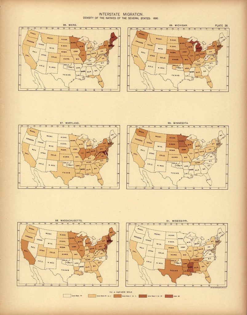 Interstate migration ... : 1890 (ME, MD, MA, MI, MN, MS)