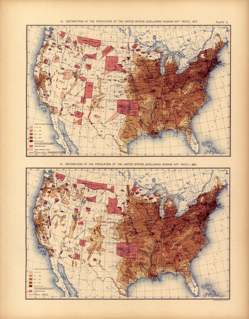 Distribution of the population of the United States: 1870 & 1880