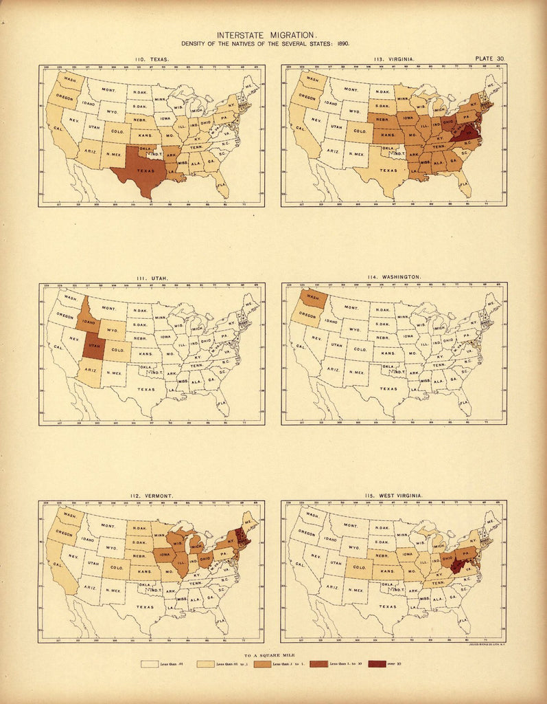 Interstate migration ... : 1890 (TX, UT, VT, VA, WA, WV)