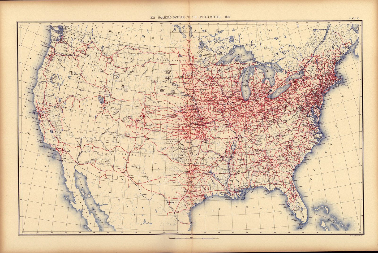 9aa956a0bea64 Railroad system of the United States: 1890 Print