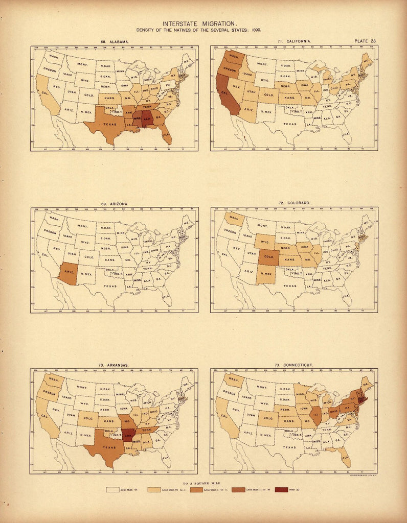 Interstate migration ... : 1890 (AL, AZ, AK, CA, CO, CT)