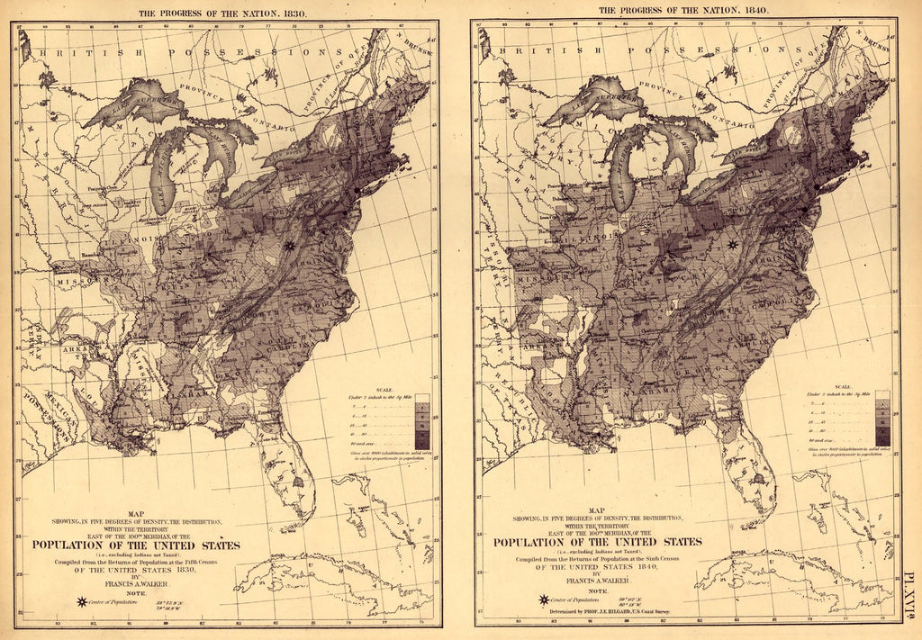 Print of Population of the US by density 1830 1840 Poster on