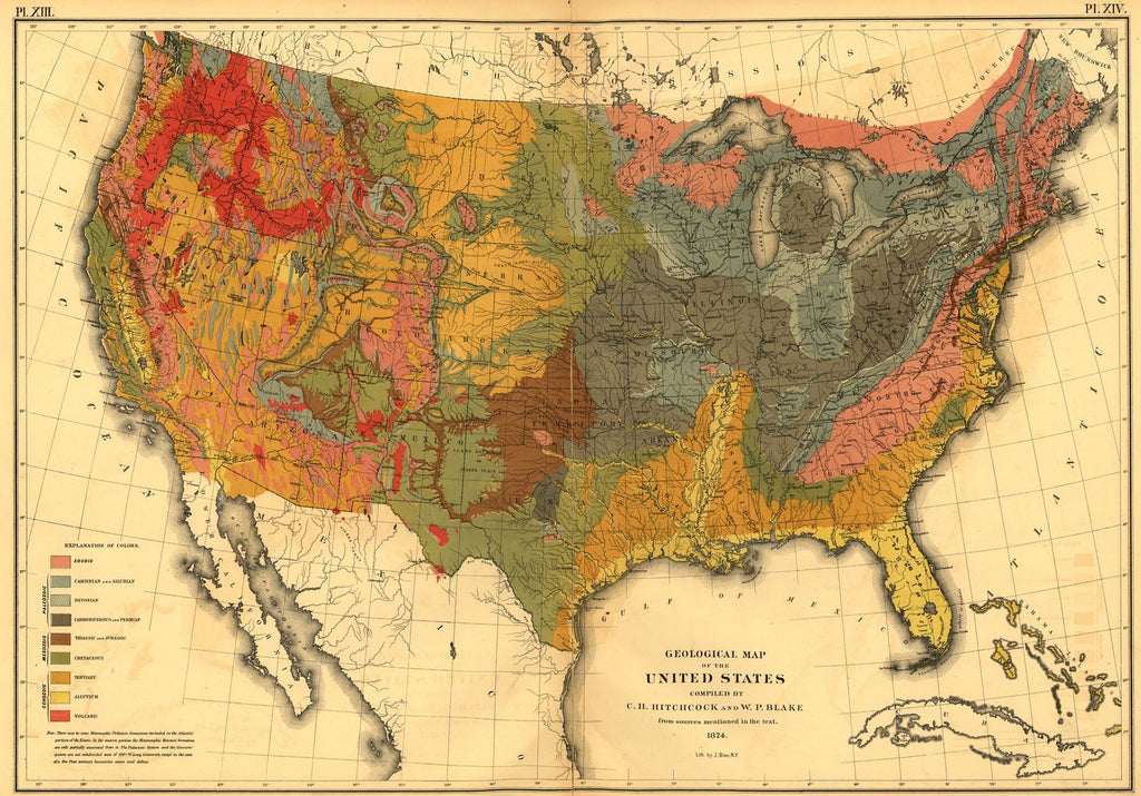 Print Of Geological Map Of The Us Poster On Vintage Visualizations - Us-map-poster