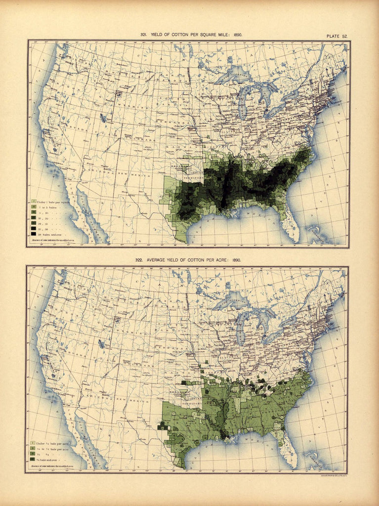 Yield of cotton per square mile: 1890