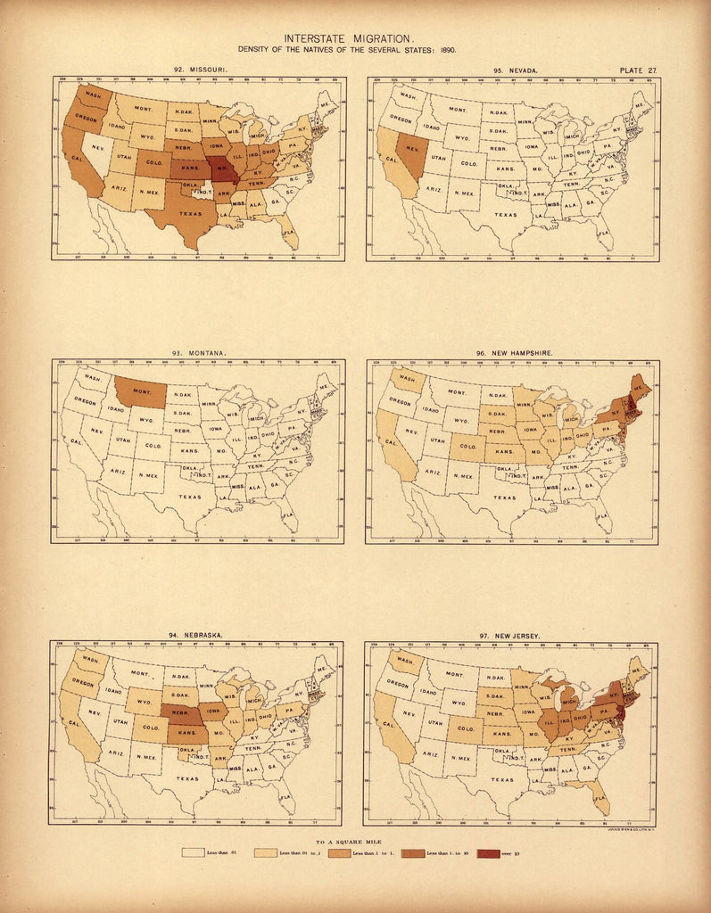 Interstate migration ... : 1890 (MO, MT, NE, NV, NH, NJ)