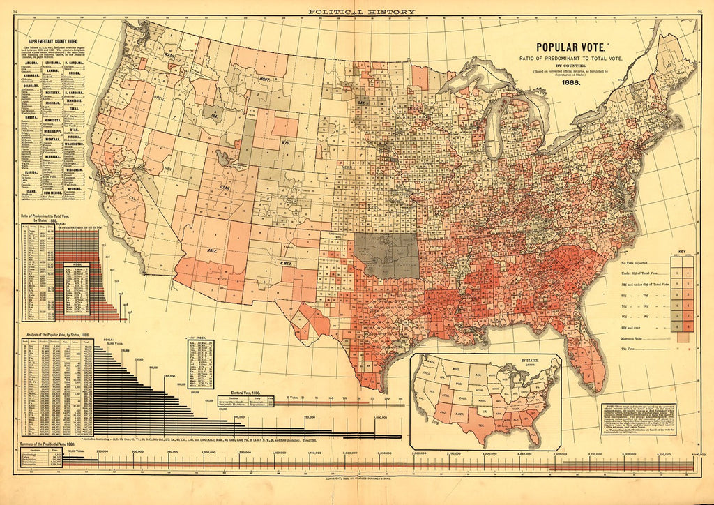 Popular Vote Map: 1888 (Grover Cleveland v. Benjamin Harrison)