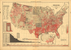 Popular Vote Map: 1884 (Grover Cleveland v. James Blaine)