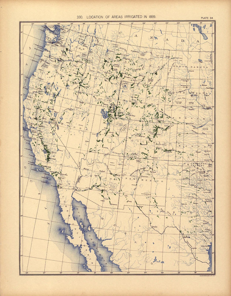 Location of areas irrigated in 1889