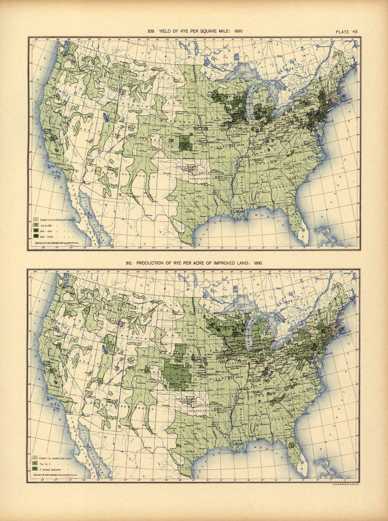 Yield of rye per square mile: 1890